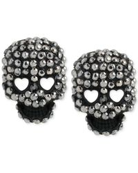 Betsey Johnson | Black Pave Skull Stud Earrings | Lyst