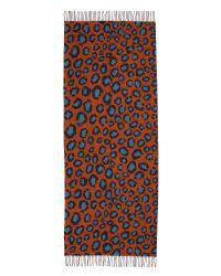 Franco Ferrari - Brown Double Print Cashmere Montebianco Scarf - Rust/turquoise - Lyst