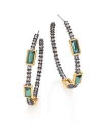 Alexis Bittar | Metallic Elements Punk Pavé Crystal Hoop Earrings | Lyst