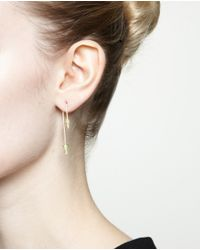 Asherali Knopfer | Green 18k Yellow Gold Tsavorite And Pearl Bar Earring | Lyst