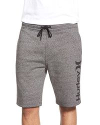 Hurley | Gray 'getaway' Elastic Waist Sweat Shorts for Men | Lyst