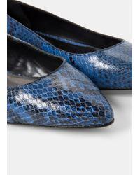 Violeta by Mango - Blue Leather Ballerinas - Lyst