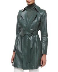 Lafayette 148 New York - Green Jeanette Belted Lambskin Coat - Lyst