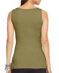 Lauren by Ralph Lauren | Green Scoopneck Cotton Tank | Lyst