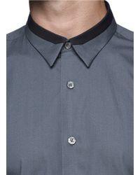 PS by Paul Smith - Green Contrast Collar Trim Poplin Shirt for Men - Lyst