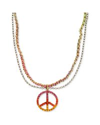 Betsey Johnson | Multicolor Crystal Peace Sign Necklace | Lyst