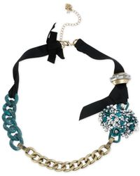 Betsey Johnson - Metallic Goldtone Patina Flower and Chain Ribbon Necklace - Lyst
