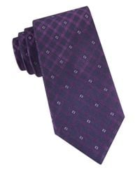 Calvin Klein | Purple Gem Grid Silk Tie for Men | Lyst