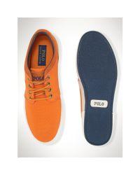 Polo Ralph Lauren | Orange Twill Faxon Low Sneaker for Men | Lyst