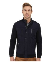 Calvin Klein - Blue Solid Texture Jacquard Mix Media Full Zip Sweatshirt for Men - Lyst