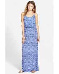 Lush - Blue Knit Maxi Dress - Lyst