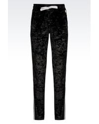 EA7 | Black Chenille Trousers | Lyst