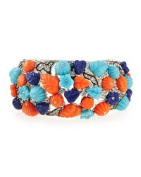 Kenneth Jay Lane | Orange Deco Floral & Crystal Cuff | Lyst