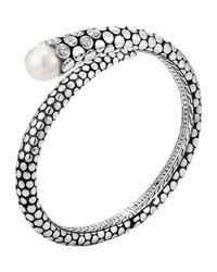 John Hardy - Metallic Dot Pearl & Diamond Kick Cuff - Lyst