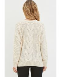 Forever 21 | White Classic Cable Knit Sweater | Lyst