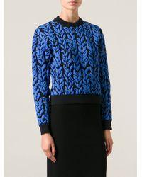 Balenciaga - Blue Leaf Print Sweater - Lyst