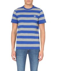 Fred Perry | Blue Striped Cotton-jersey T-shirt for Men | Lyst