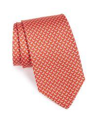 Ferragamo | Red Bow Print Silk Tie for Men | Lyst