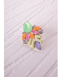 Missguided - Contrast Crystal Cluster Earrings Green - Lyst