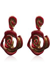 Oscar de la Renta - Red Resin Painted Flower Earrings - Lyst
