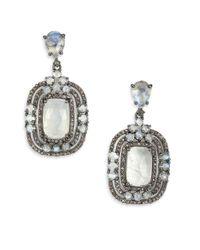 Bavna - Metallic Rainbow Moonstone, Champagne Diamond & Sterling Silver Nested Drop Earrings - Lyst