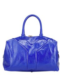Saint Laurent | Blue Easy Medium Patent Tote | Lyst