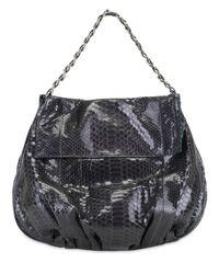 Zagliani - Black Shiny Python Ninette Large Shoulder Bag - Lyst