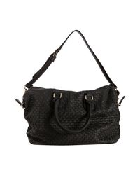 Deux Lux - Black Woven Faux Leather Luella Overnight Bag - Lyst