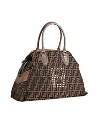 Fendi | Brown Tobacco Zucca Studded Large Bag De Jour Tote | Lyst