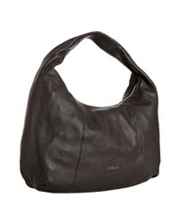 Furla | Dark Brown Pebble Leather Salome Hobo | Lyst