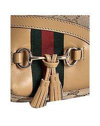 Gucci - Natural Beige Gg Canvas Horsebit Tassel Medium Hobo - Lyst