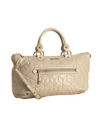Miu Miu | Natural Ivory Quilted Lambskin Zip Pocket Satchel | Lyst