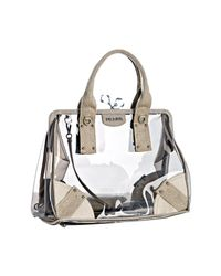 Prada | Natural Dark Beige Pvc and Linen Framed Top Bag | Lyst