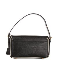 Prada - Black Perforated Calfskin Piped Shoulder Bag - Lyst