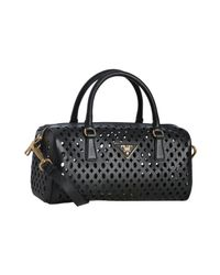 Prada | Black Saffiano Leather Eyelet Top Handle Bag | Lyst