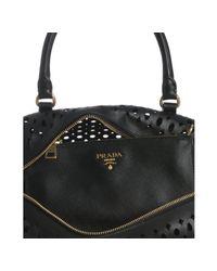 Prada - Black Saffiano Leather Eyelet Top Handle Bag - Lyst