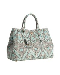 Prada | Blue Anise Floral Print Saffiano Calf Tote | Lyst