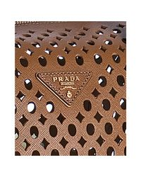 Prada - Brown Caramel Perforated Saffiano Satchel - Lyst