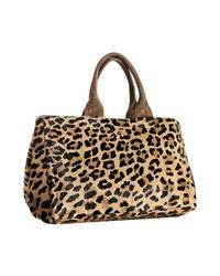 Prada | Multicolor Leopard Printed Pony Hair Medium Tote | Lyst