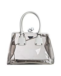 Prada | White Pvc and Leather Framed Top Bag | Lyst