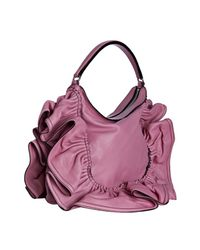 Valentino | Pink Leather Ruffle Detail Shoulder Bag | Lyst