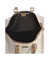 Gucci - White and Beige Gg Plus Weekender Duffel Bag - Lyst