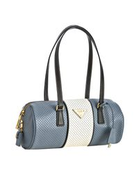 Prada | Light Blue Perforated Saffiano Stripe Barrel Bag | Lyst