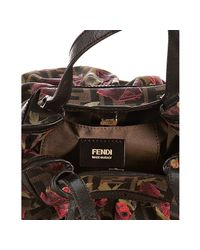 Fendi - Brown Tobacco Rose Print Zucca Canvas Mare Mini Bag - Lyst