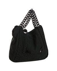 Stella McCartney | Black Faux Suede Chain Link Embossed Shoulder Bag | Lyst