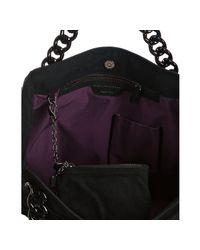 Stella McCartney - Black Faux Suede Chain Link Embossed Shoulder Bag - Lyst