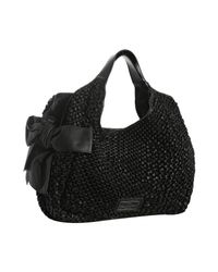 Valentino - Black Woven Leather Bow Detail Shoulder Bag - Lyst