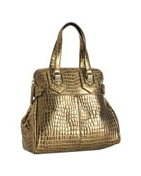 Givenchy - Metallic Gold Croc Embossed New Line Moyen Tote - Lyst
