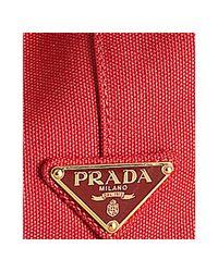 Prada - Red Canvas Rope Logo Medium Tote - Lyst