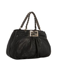 Fendi | Black Pebbled Nappa Mia Chain Bag | Lyst